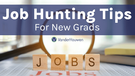 Job Hunting Tips for New Grads | magnifying glass over wooden blocks spelling out Jobs