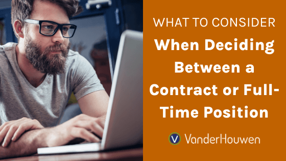 What to Consider When Deciding Between a Contract or Full-Time Position | Man with glasses and beard sitting at laptop