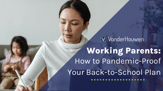 Working Parents, How to Pandemic-Proof Your Back-to-School Plan | Asian mother with her hair pulled back writing with young child in the background
