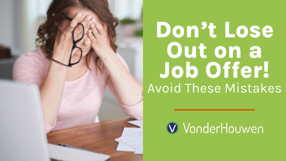 Don't Lose Out on a Job Offer! Woman sitting with her glasses off and her head in her hands stressed out