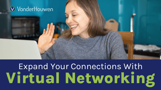 Expand Your Connections with Virtual Networking | white woman sitting in her kitchen waving at her laptop camera