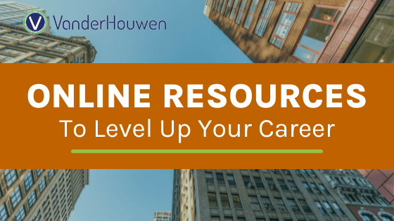 Online Resources to Level Up Your Career | text over a warm upward look at skyscrapers in the city.