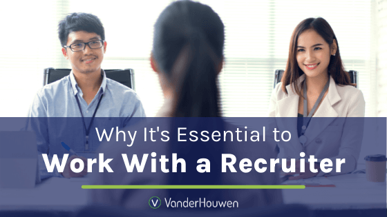 Why It's Essential to Work with a Recruiter | asian man and woman of color interviewing another woman from across the table